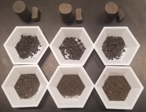 Image of rock core plugs, pseudo drill  cuttings and actual drill cuttings.